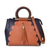 Black and Tan Faux Leather Tote Bag (12x6x10.2 in)