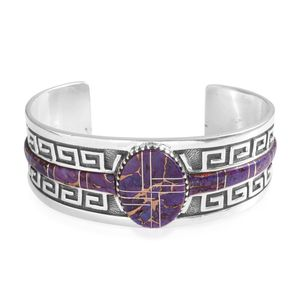 Santa Fe Style Mojave Purple Turquoise Sterling Silver Cuff (6 in) TGW 18.05 cts.