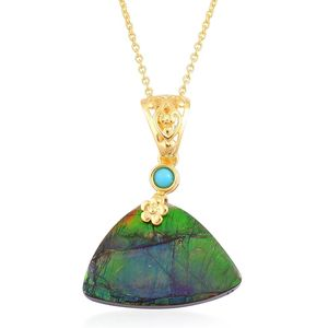 Canadian Ammolite, Arizona Sleeping Beauty Turquoise 14K YG Over Sterling Silver Pendant With Chain (18 in) TGW 16.68 cts.