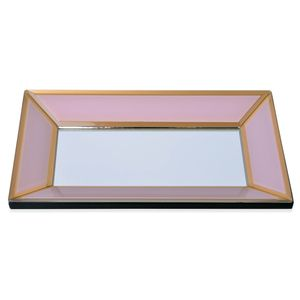 Pink Glass Tray with Gold Rim (11x6.3x1.1 in)