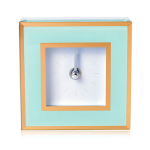 Mint Green Glass Stick Clock Dual with Gold Trim Border (4.5x1.5x4.5 in) (AA Batteries not Included)