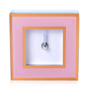 Pink Glass Stick Clock Dual with Gold Trim Border (4.5x1.5x4.5 in) (AA Battery not Included)