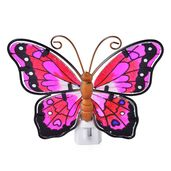 Purple Butterfly Iron and Stained Glass Night Lamp (5x5 in)