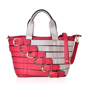 Red and Silver Faux Leather Buckle Belt Tote with Removable Shoulder Strap (48in) and Standing Studs(11x6x9 in)