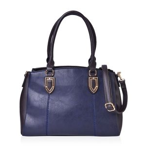 Navy and Dark Coffee Faux Leather Triple Compartment Shoulder Bag with Removable Strap (47in) and Standing Studs (14x6x10 in)