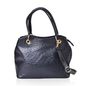 Black Ostrich Print Faux Leather Hobo Structure Bag with Removable Shoulder Strap (47in) and Standing Studs(12x5x8 in)