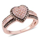 Natural Champagne and Pink Diamond Black Rhodium, 14K RG Over Sterling Silver Heart Ring (Size 8.0) TDiaWt 0.72 cts, TGW 0.72 cts.