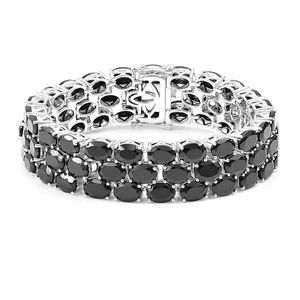 Thai Black Spinel Sterling Silver Three Row Bracelet (8.00 In) TGW 84.52 cts.