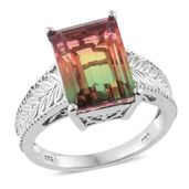 Rainbow Quartz Platinum Over Sterling Silver Ring (Size 10.0) TGW 8.15 cts.