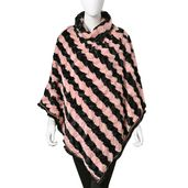 Pink and Black Striped 100% Polyester and Faux Fur Turtle Neck V-Shape Poncho with Santa Fe Border (One Size)