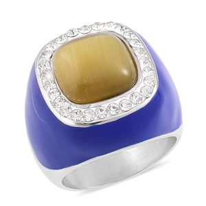 Simulated Yellow Cats Eye, Austrian Crystal, Blue Enameled Stainless Steel Ring (Size 9.0)