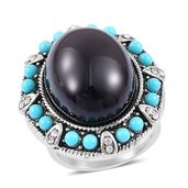 Black Chroma, Simulated Pearl, Austrian Crystal Black Oxidized Stainless Steel Ring (Size 8.0)