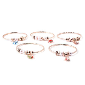 Set of 5 Blue and Red Glass, Multi Color Austrian Crystal Rosetone Diamond Cut Bangles with Charms (8 in)