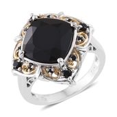 Thai Black Spinel 14K YG and Platinum Over Sterling Silver Ring (Size 6.0) TGW 9.40 cts.
