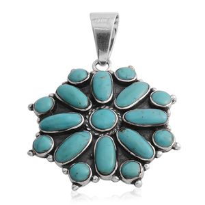 Santa Fe Style Mojave Blue Turquoise Sterling Silver Pendant without Chain TGW 12.00 cts.