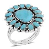Santa Fe Style Kingman Turquoise Sterling Silver Ring (Size 8.0) TGW 2.25 cts.