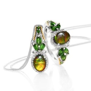 Canadian Ammolite, Russian Diopside, Cambodian Zircon 14K YG and Platinum Over Sterling Silver Ring (Size 8) and Pendant With Chain (20 in) TGW 4.02 cts.