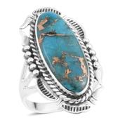 Santa Fe Style Mojave Blue Turquoise Sterling Silver Ring (Size 7.0) TGW 2.50 cts.