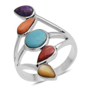 Santa Fe Style Kingman Turquoise, Multi Gemstone Sterling Silver 5 Stone Split Ring (Size 7.0) TGW 0.70 cts.