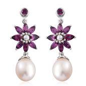 Orissa Rhodolite Garnet, Freshwater Pearl Platinum Over Sterling Silver Drop Earrings TGW 3.58 cts.