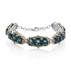 Belgian Teal Fluorite, Tanzanite 14K YG and Platinum Over Sterling Silver Bracelet (7.50 In) TGW 47.36 cts.
