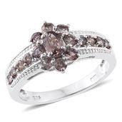 Bekily Color Change Garnet Platinum Over Sterling Silver Ring (Size 6.0) TGW 1.66 cts.
