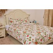 Multi Color Floral Printed Microfiber Quilt (102x86 in) and Set of 2 Sham (20x36 in)
