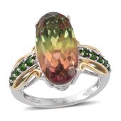 Rainbow Genesis Quartz, Russian Diopside 14K YG and Platinum Over Sterling Silver Ring (Size 8.0) TGW 12.45 cts.