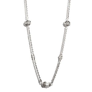 Simulated Pearl Silvertone Station Necklace (28 in)