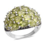 Hebei Peridot, Thai Black Spinel Black Rhodium Over and Sterling Silver Ring (Size 6.0) TGW 10.33 cts.