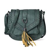 Green Faux Leather Chic Style Saddle Bag (10x3.6x8.6 in)