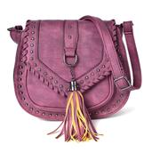Light Purple Faux Leather Chic Style Saddle Bag (10x3.6x8.6 in)