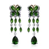 Russian Diopside 14K YG and Platinum Over Sterling Silver Butterfly Drop Earrings TGW 4.78 cts.