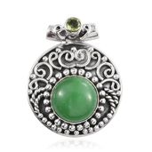Artisan Crafted Burmese Green Jade, Hebei Peridot Sterling Silver Pendant without Chain TGW 7.10 cts.