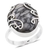 Artisan Crafted Austrian Pinolith Sterling Silver Ring (Size 9.0) TGW 19.44 cts.