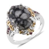 Austrian Pinolith, Orissa Rhodolite Garnet 14K YG and Platinum Over Sterling Silver Ring (Size 8.0) TGW 13.00 cts.