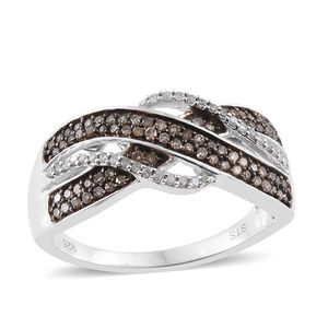 Champagne Diamond, Diamond Black Rhodium and Platinum Over Sterling Silver Ring (Size 10.0) TDiaWt 0.50 cts, TGW 0.50 cts.
