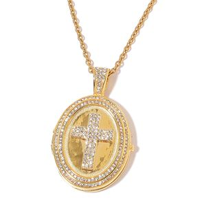 White Austrian Crystal ION Plated YG Stainless Steel Locket Cross Pendant With Chain (20 in)