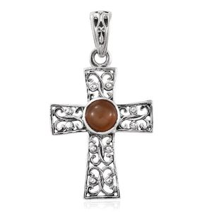 Peach Moonstone Sterling Silver Cross Pendant without Chain TGW 0.61 cts.