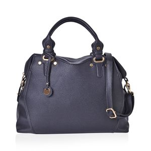 Black Faux Leather Hobo Bag with Removable Strap (48in)and Standing Studs (14.5x5x11.5 in)