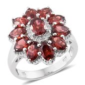 Mozambique Garnet, Cambodian Zircon Platinum Over Sterling Silver Flower Ring (Size 5.0) TGW 6.71 cts.