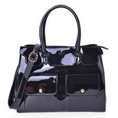 Black Faux Patent Leather Double Pocket Satchel Bag with Removable Shoulder Strap (47in) and Standing Studs (13x4x10 in)