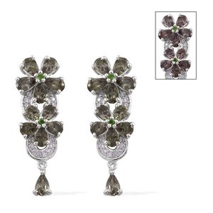 Bekily Color Change Garnet, Russian Diopside, Cambodian Zircon Platinum Over Sterling Silver Floral Drop Earrings TGW 5.40 cts.