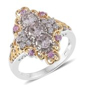 Marropino Morganite, Madagascar Pink Sapphire, Cambodian Zircon 14K YG and Platinum Over Sterling Silver Elongated Ring (Size 6.0) TGW 1.75 cts.
