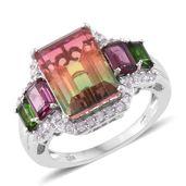 Rainbow Genesis Quartz, Multi Gemstone Platinum Over Sterling Silver Ring (Size 10.0) TGW 11.87 cts.