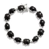 Shungite Platinum Over Sterling Silver Bracelet (7.50 In) TGW 35.10 cts.