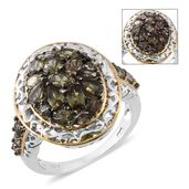 Bekily Color Change Garnet, Thai Black Spinel 14K YG and Platinum Over Sterling Silver Cluster Ring (Size 6.0) TGW 3.64 cts.