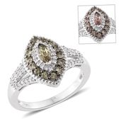 Bekily Color Change Garnet, Cambodian Zircon Platinum Over Sterling Silver Ring (Size 10.0) TGW 1.44 cts.