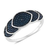 Blue Diamond (IR) Accent Blue Rhodium and Platinum Over Sterling Silver Ring (Size 6.0)
