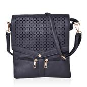 Black Faux Leather Retro Style Flap Top Crossbody Bag (9.4x10.4 in)